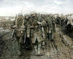 War-weary Canadian soldiers at Passchendaele, 1917.