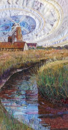 Cley-next-the-sea - Embroidery by Rachel Wright - about 10.5 x 19.5 cm