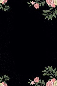 Framed Wallpaper, Black Wallpaper, Screen Wallpaper, Flower Phone Wallpaper, Cellphone Wallpaper, Iphone Wallpaper, Flower Backgrounds, Wallpaper Backgrounds, Floral Border