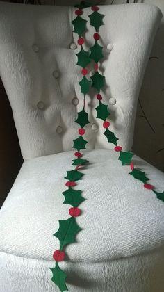 felt christmas holly garland