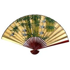 Oriental Furniture 12'' x 20'' Bamboo and Cranes Wall Fan in Gold Leaf