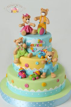 Marcus christening cake - Cake by Viorica Dinu Pretty Cakes, Cute Cakes, Fondant Cakes, Cupcake Cakes, Teddy Bear Cakes, Teddy Bears, Cake Decorating Piping, Baby Girl Cakes, Love Cake