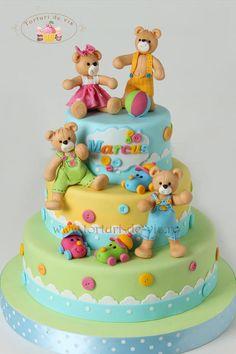 Marcus christening cake - Cake by Viorica Dinu Fondant Cakes, Cupcake Cakes, Teddy Bear Cakes, Teddy Bears, Cake Decorating Piping, Baby Girl Cakes, Love Cake, Cute Cakes, Creative Cakes