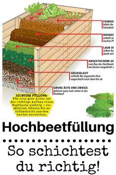 Damit ein #hochbeet auch richtig funktioniert, reicht es nicht, einfach #blumenerde reinzukippen. Auf die richtige Füllung kommt es an! #beet #garten #gärtnern #gardening #erde #kompost #selbst