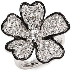 Kenneth Jay Lane Crystal Pave Flower Cocktail Ring ($105) ❤ liked on Polyvore featuring jewelry, rings, black, flower ring, cocktail rings, statement rings, crystal jewelry and pave crystal jewelry
