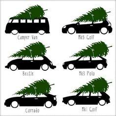 VW Christmas tree transport.