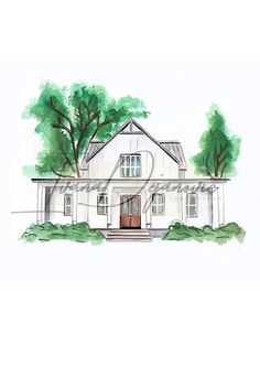 Custom House Portrait Hand Painted Watercolor Art original Painting House Portrait Watercolor Home Drawing House Illustration Sketch House Illustration, Watercolor Illustration, Watercolor Art, Pergola, Home Gym Decor, Portraits From Photos, House Drawing, New Home Gifts, Watercolor Portraits