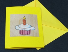 Birthday Cards - Wood Pyrography - Cupcake Birthday Card