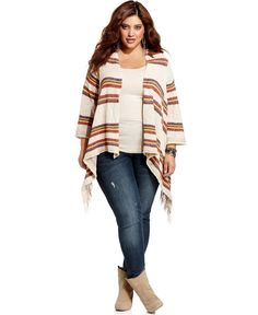 American Rag Plus Size Cardigan, Three-Quarter-Sleeve Striped Poncho - American Rag - Plus Sizes - Macy's