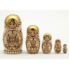 Woodburned Church Russian Nesting Doll. So pretty!