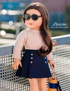 Spotted on the Street - Create this look for your American Girl dolls with the Liberty Jane Harper Skirt 18 Inch Doll Clothes Pattern | Pixie Faire