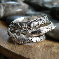 Silver Twig Stacking Rings Silver Unisex Rings by OneLoomStudio