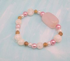 Rose Quartz Gemstone with Gold Pink and Pearls Beaded by LizsWares