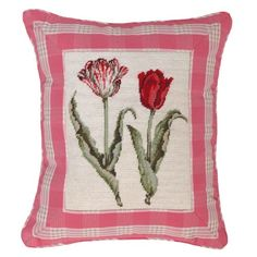 Petit Point Tulip Pillow via The Beach Look. Click on the image to see more!