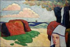 Emile Bernard  Breton woman at haystacks