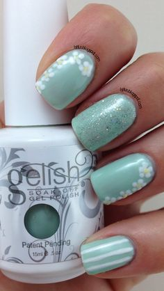 Spring Nail Art Using Gelish Kiss Me I'm A Prince - mint mani with dot flowers and stripes