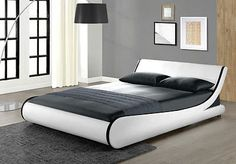 Modern Double Bed Room White King Size Home Furniture Designer Leather Frame 5FT