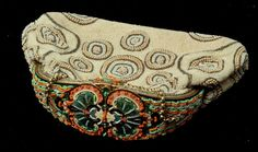 VINTAGE BEADED EVENING BAG WITH JEWELED DETAILS IN GOLD WITH INLAID CLASP