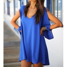 Wholesale Stylish Women's V-Neck Long Sleeve Hollow Out Chiffon Dress (SAPPHIRE BLUE,S), Chiffon Dresses - rosewholesale.com