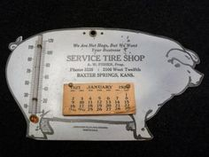 icollect247.com Online Vintage Antiques and Collectables - 1927 Tin Pig Calendar for Tire Shop Advertising-Gas and Oil