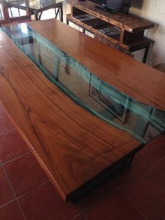 Glass River Dining Table by UniqueWoodIron on Etsy