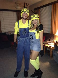 Homemade couples halloween costume. Minions!