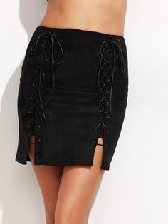 Black Lace Up Bodycon Skirt
