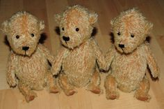 Three original mohair teddy bears by BigFeetBears