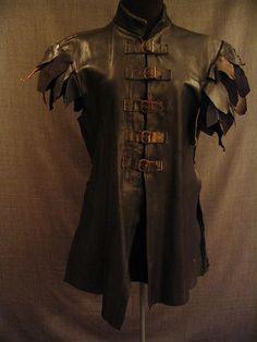 09006844 Doublet Men's Medieval, black navy brown leather, C36.JPG