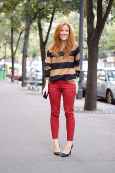 red skinny pants, scarpin, red head, ginger
