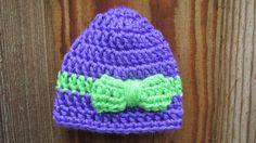 Micro Preemie Hat, Crochet Preemie Hat, NICU Hat, Baby Girl Preemie cap, Hospital Friendly, Preemie Beanie, Purple Baby Hat by TheFlyButterFactory on Etsy