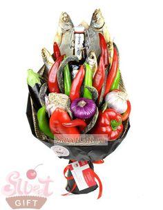 """Букет из овощей """"Мужской характер"""" - Овощные букеты и фруктовые букеты с цветами - sweetgift.ru"""