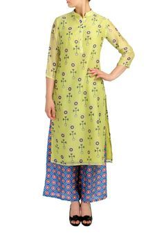 Lemon Green Kurta With Blue Palazzo Pants Set by SOUP, Kurta Suits   #kurta #casual #casualkurta #kurtadesign #wardrobestaples #wardrobeessentials #indian #ethnic #indiandresses #kurti #staple #everyday #daywear #essential #design #fashion