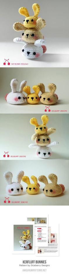 Kerfluff Bunnies Amigurumi Pattern by Diceberry Designs