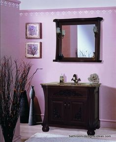 painted walls,purple bathroom,traditional bathroom,traditional wood vanity, mirror lights