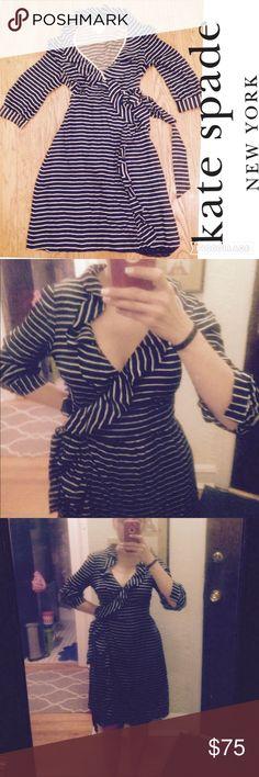 Kate Spade 100% silk wrap dress black&white stripe Bust 36 waist 26 hips 36 length from waist to hem 22. Hem has fallen a bit it's an easy fix for your dry cleaner 100% silk kate spade Dresses