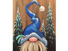 Fall Canvas Painting, Christmas Paintings On Canvas, Canvas Painting Projects, Winter Painting, Tole Painting, Christmas Gnome, Christmas Signs, Christmas Art, Xmas