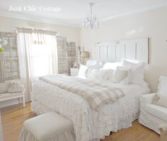 Junk Chic Cottage - There is something about the all white that's relaxing to me. I think it would be pretty in a living room with pops of shabby colors.