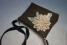 """Купить Кожаная сумочка с цветком """"Шоколад"""" модель3 - кожаная женская сумка, сумочка мини"""