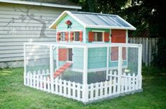 Large chicken coop with shutters, windows, and picket fence detail. Pick your colors. $1000