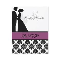 Black and Purple Wedding Couple RSVP Card invitation