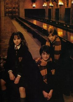 Harry, Ron and Hermione / Daniel Radcliffe, Rupert Grint, and Emma Watson in Harry Potter and the Philosopher's Stone