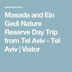 Masada and Ein Gedi Nature Reserve Day Trip from Tel Aviv - Tel Aviv Nature Reserve, Tel Aviv, Day Trips, Israel, Tours