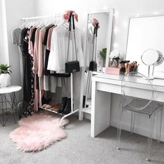 My dressing room / makeup vanity / wardrobe Ikea malm dressing table, clothing rack mirror, Kmart rug side table, Target clear chair Sala Glam, Ikea Malm Dressing Table, Dressing Tables, Dressing Area, Vanity Room, Vanity Desk, Ikea Vanity, Diy Vanity, Bathroom Chair