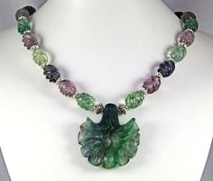 Rainbow Fluorite & Sterling Silver Necklace N110 by TheSilverBear, $185.00