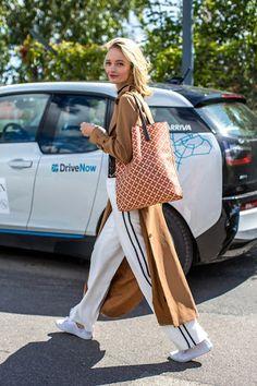 Le Fashion Blog Street Style Camel Trench Coat Black Mock Neck Top Side Stripe…