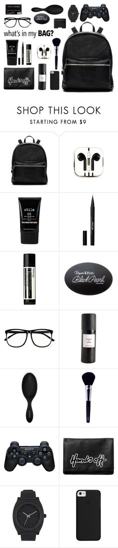 """what's in my bag?//2015"" by shertarlon ❤ liked on Polyvore featuring Elizabeth and James, PhunkeeTree, Stila, Aesop, Paper Mate, H&M, Eight & Bob, Sephora Collection, Napoleon Perdis and Sony"