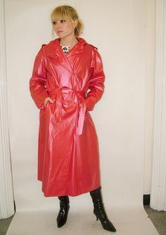 Red Raincoat, Plastic Mac, Rain Wear, Sexy, Leather Jacket, How To Wear, Jackets, Macs, Vinyls