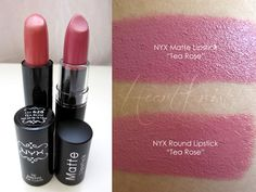 NYX Tea Rose - Matte is dupe for mac pretty please vs Round Lipstick is dupe for mac fanfare