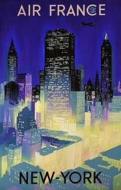 Vintage Air France to New York Poster